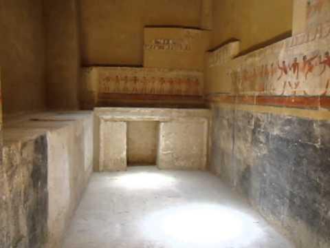 Inside tombs in Cairo w/ hieroglyphics