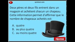 QCM de raisonnement logique, devinette, les chapeaux.