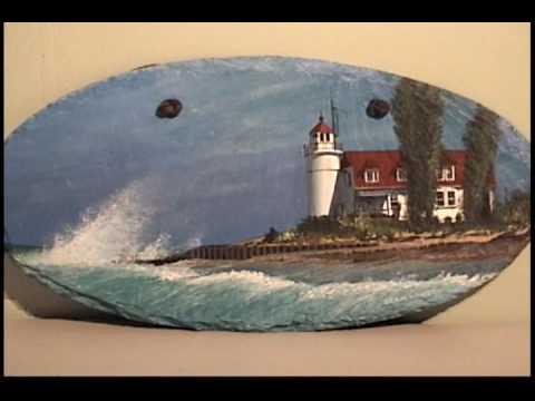 """HANSON ORIGINALS"" Lighthouse paintings on hanging..."