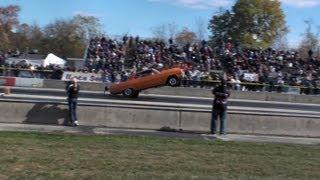Orange 1964 Chevelle Wheelie - Almost loses it!