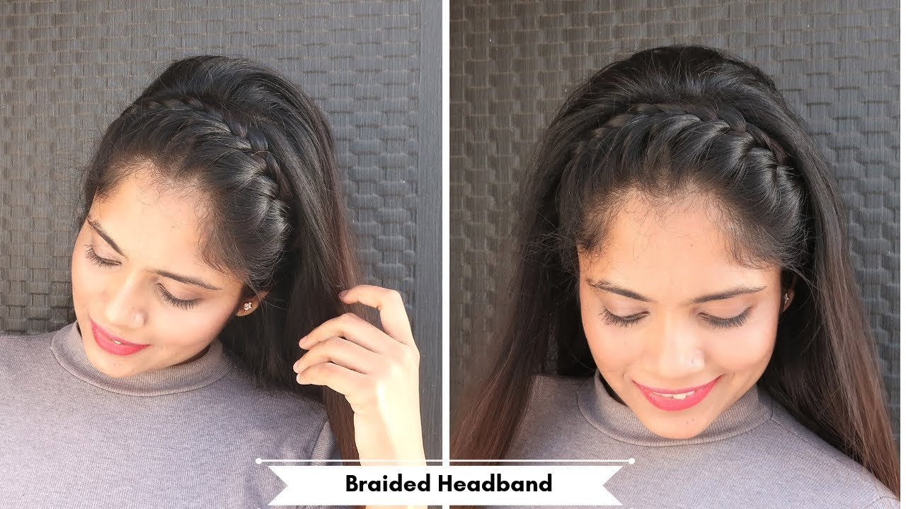 Braided Full Headband Hairstyle Open Hair Hairstyle For Party Function Youtube