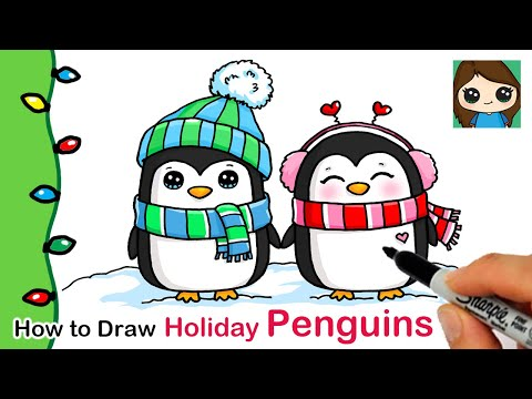 How to Draw Holiday Penguins | Christmas Series #7