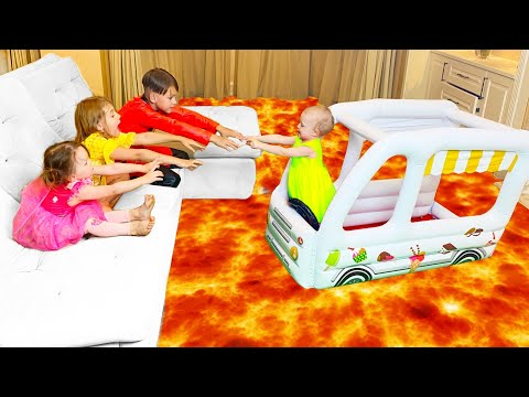 Five Kids The Floor is Lava Song + more Children's Songs and Videos