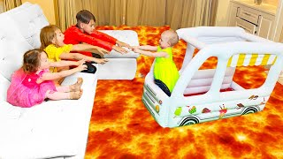 Download lagu Five Kids The Floor is Lava Song + more Children's Songs and Videos