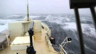 Icelandic fishing vessel in bad weather.