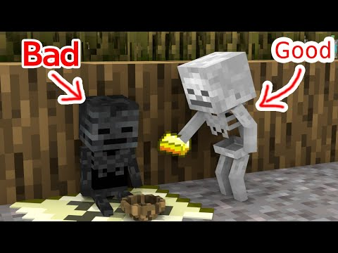 Monster School : Bad Baby Wither Skeleton and Good Baby Skeleton - Minecraft Animation