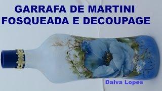 GARRAFA FOSQUEADA COLORIDA + DECOUPAGE
