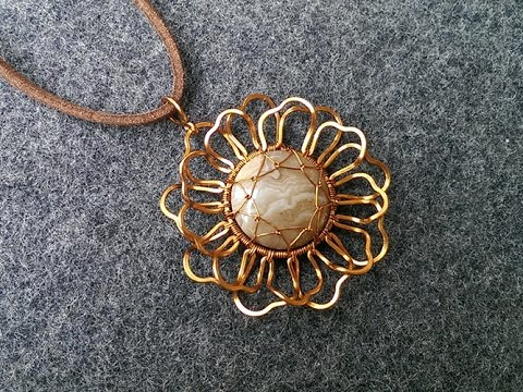 Copper Wire Flower Pendant Handmade Jewelry Design 115
