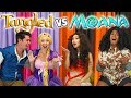 TRY NOT TO SING ALONG MOANA VS TANGLED MOVIE SONGS. (Totally TV Dress Up Characters)