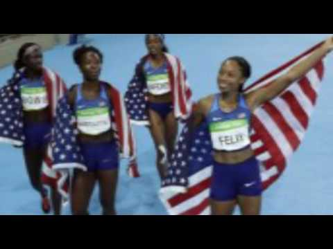 U S  women's 4x100 relay team sprints past Jamaica to capture Olympic gold