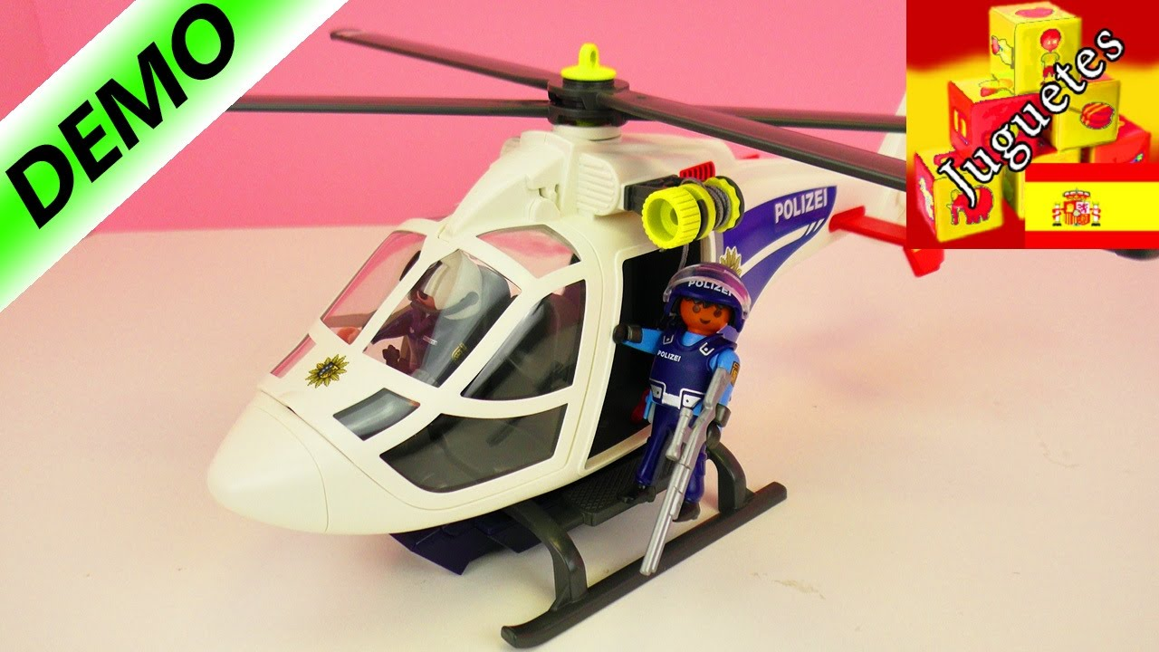Helic ptero de polic a playmobil demo youtube for Helicoptero playmobil
