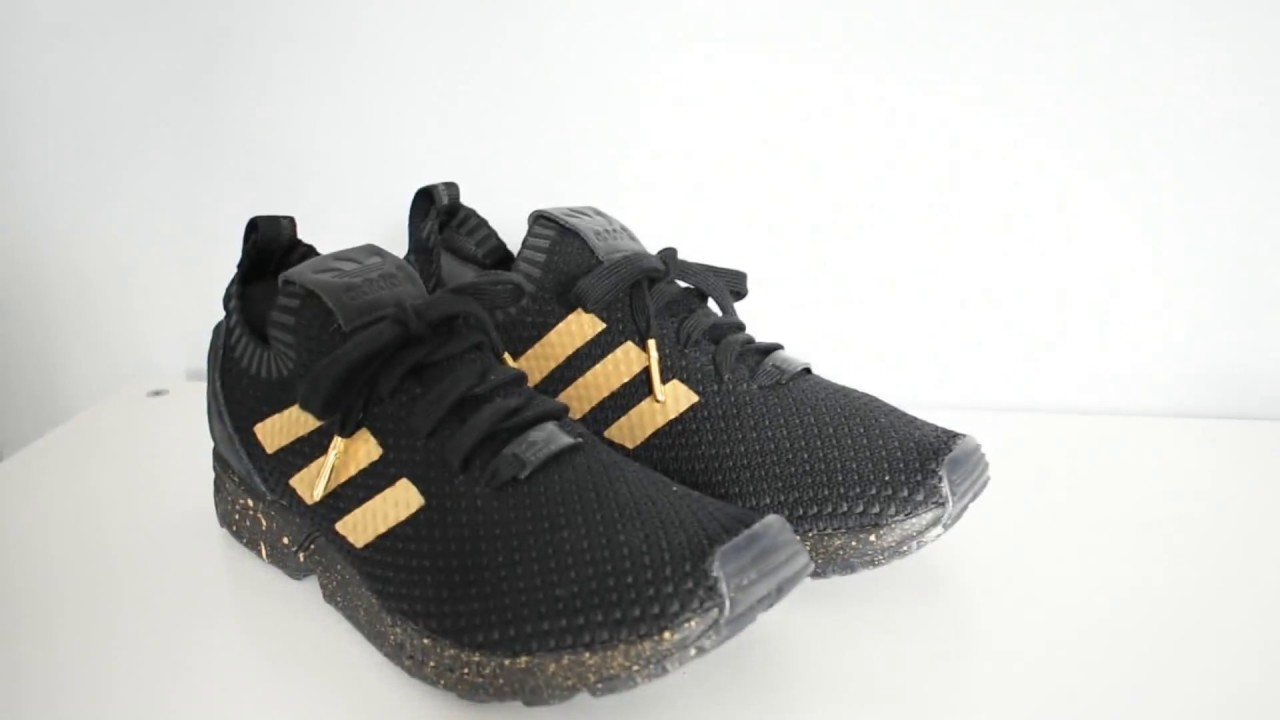adidas zx flux black and gold custom