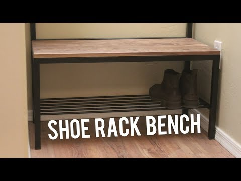 DIY Shoe Storage Bench + Coat Rack // Woodworking & Welding