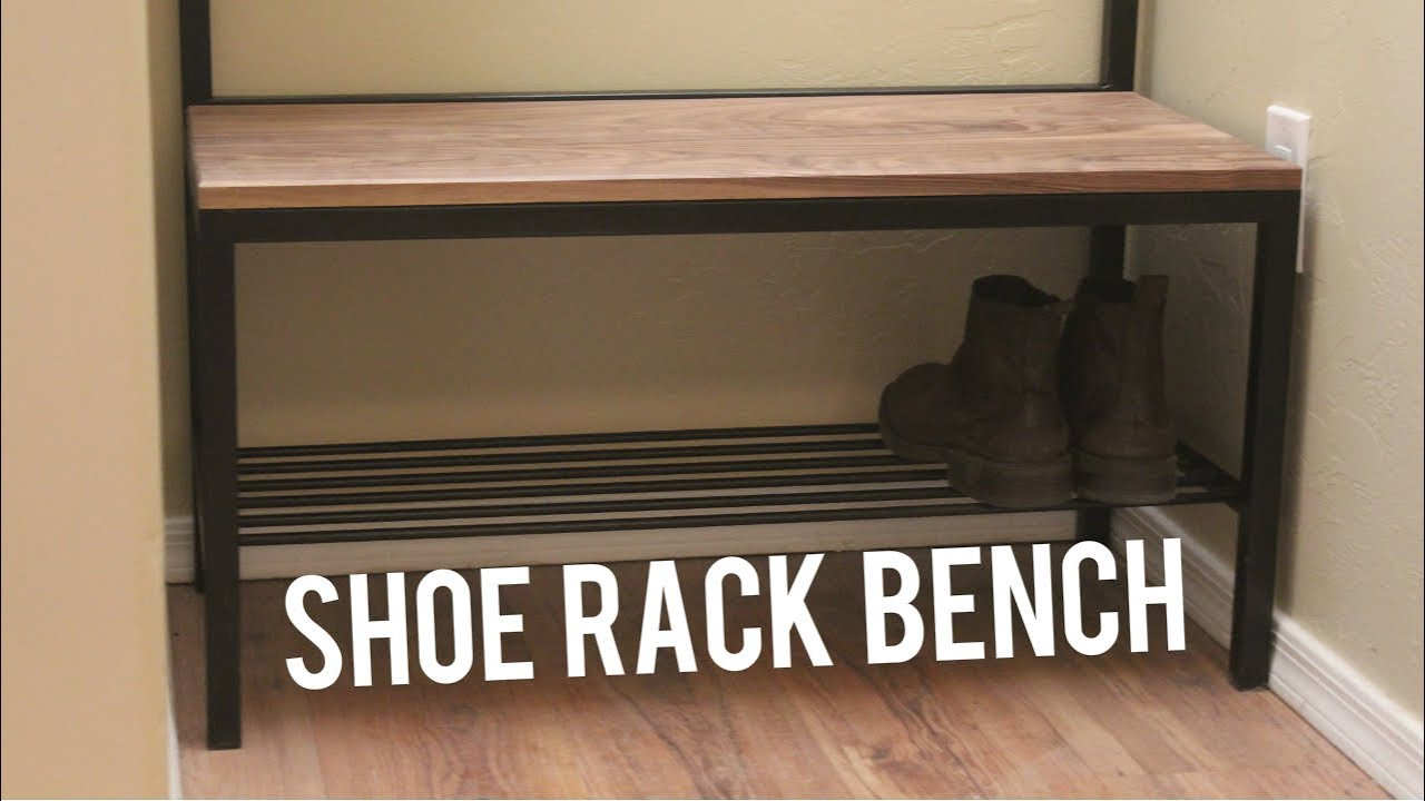 diy shoe storage bench coat rack woodworking welding