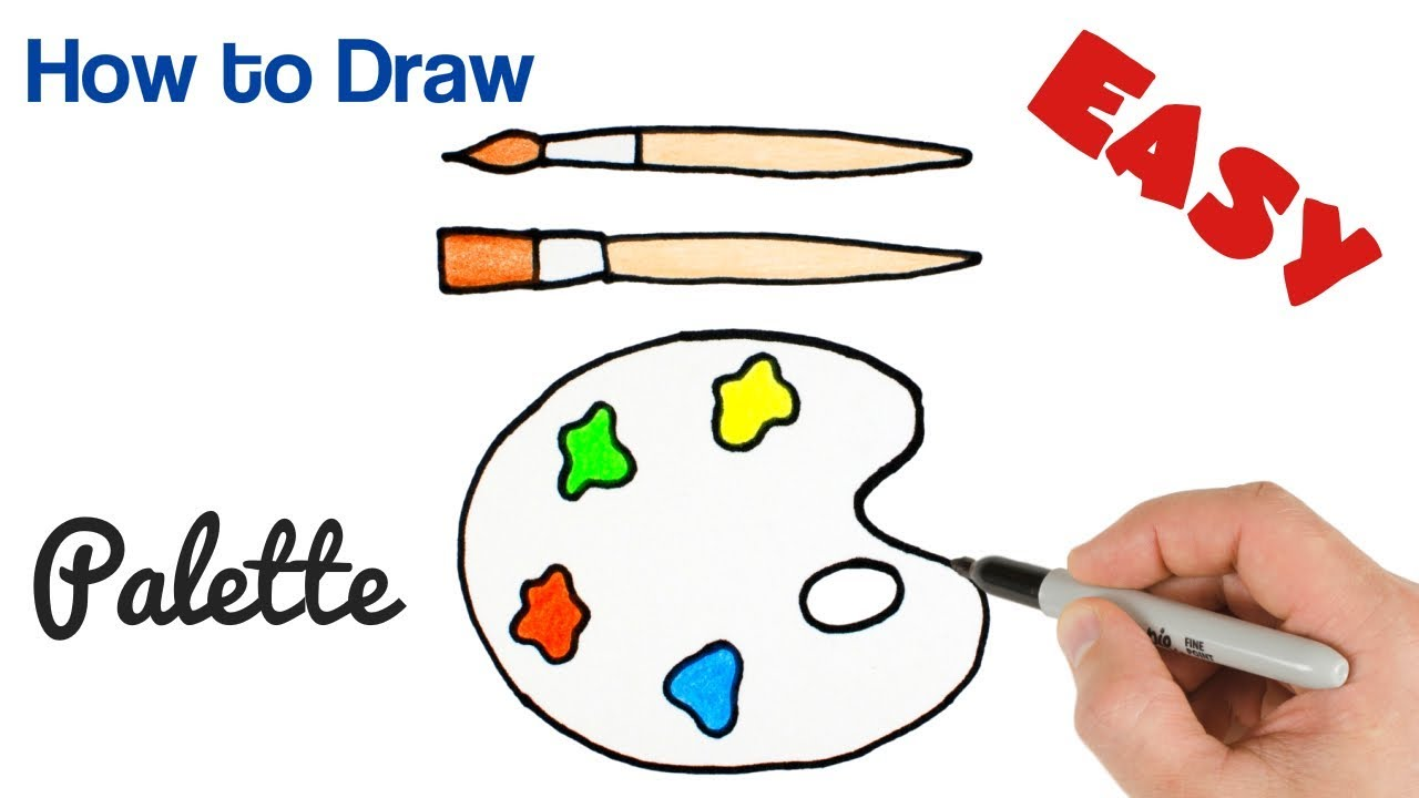 How to Draw Paint Palette   Art Supplies Drawing for Kids - YouTube