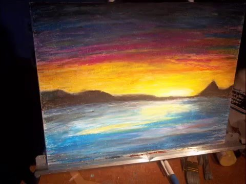art time lapse oil pastel sunrise on canvas youtube