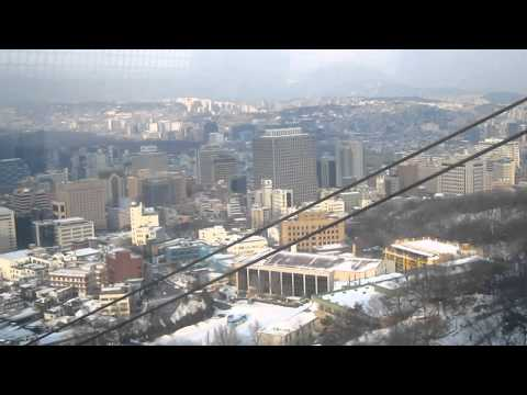 Cable car ascending Namsan mountain in Seoul, South Korea