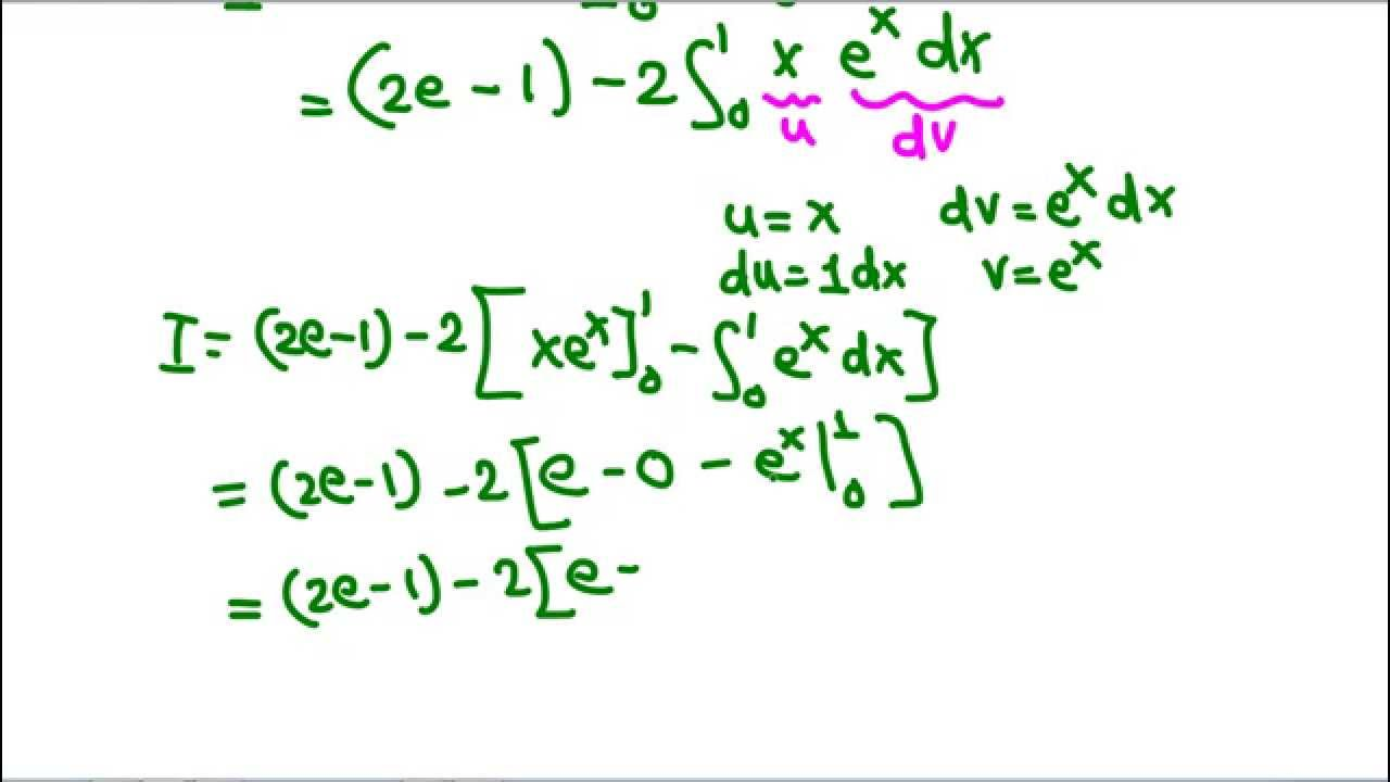 An Example Of Integration By Parts Definite Integral Youtube