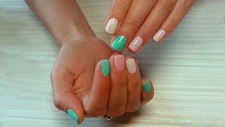Дизайн ногтей гель-лак shellac - Дизайн блестками (видео уроки дизайна ногтей)