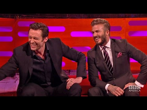 HUGH JACKMAN plays host w DAVID BECKHAM on The Graham Norton
