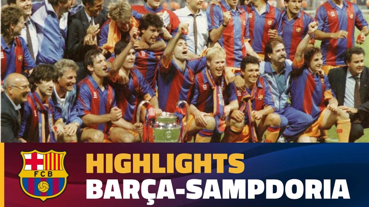 European Cup Final 1992 I Highlights Fc Barcelona Uc Sampdoria 1 0 Youtube