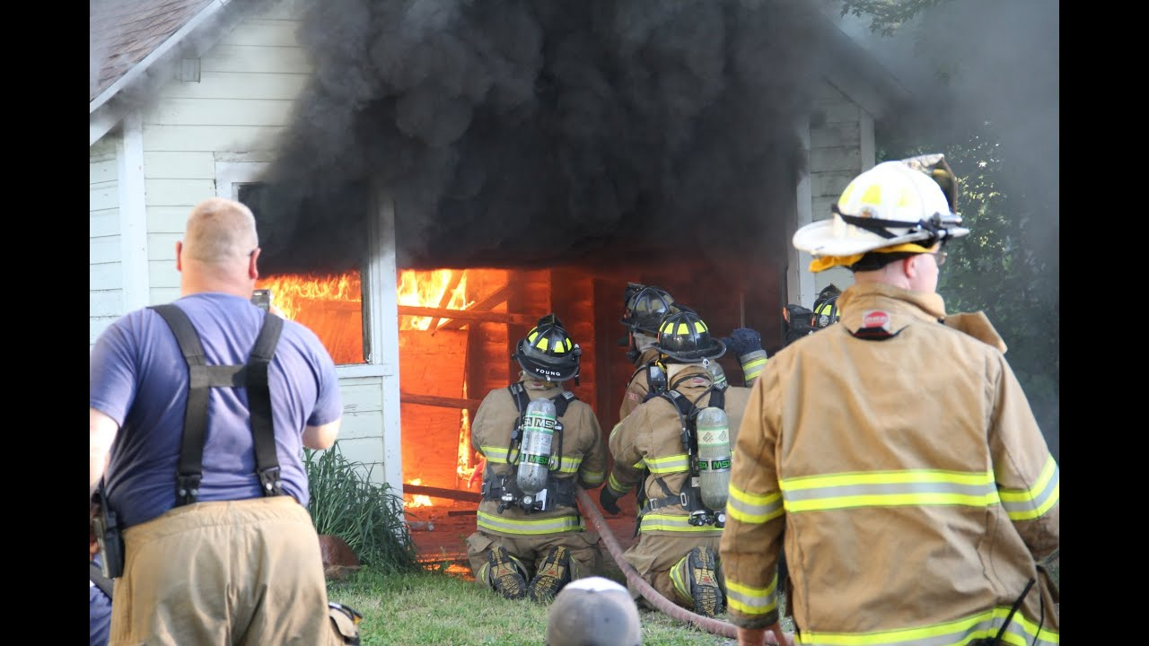 Firefighter Widow Maker Garage Door Live Burn Training