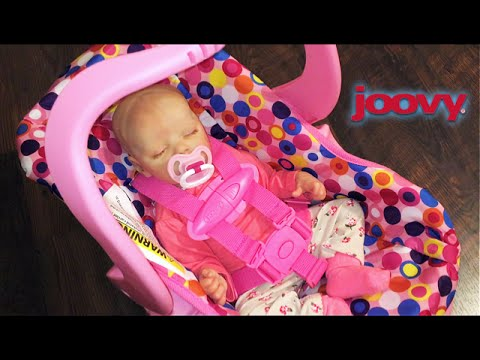 Pink Joovy Toy Car seat Unboxing with Reborn Baby Doll ...