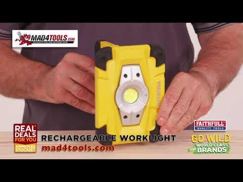 Work Light LED Magnetic Rechargeable 10 Watt 800 Lumen Faithfull Demo