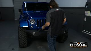 Havoc Wrecking Ball Front Bumper with factory fogs Install on Jeep JK - HavocOffroad.com
