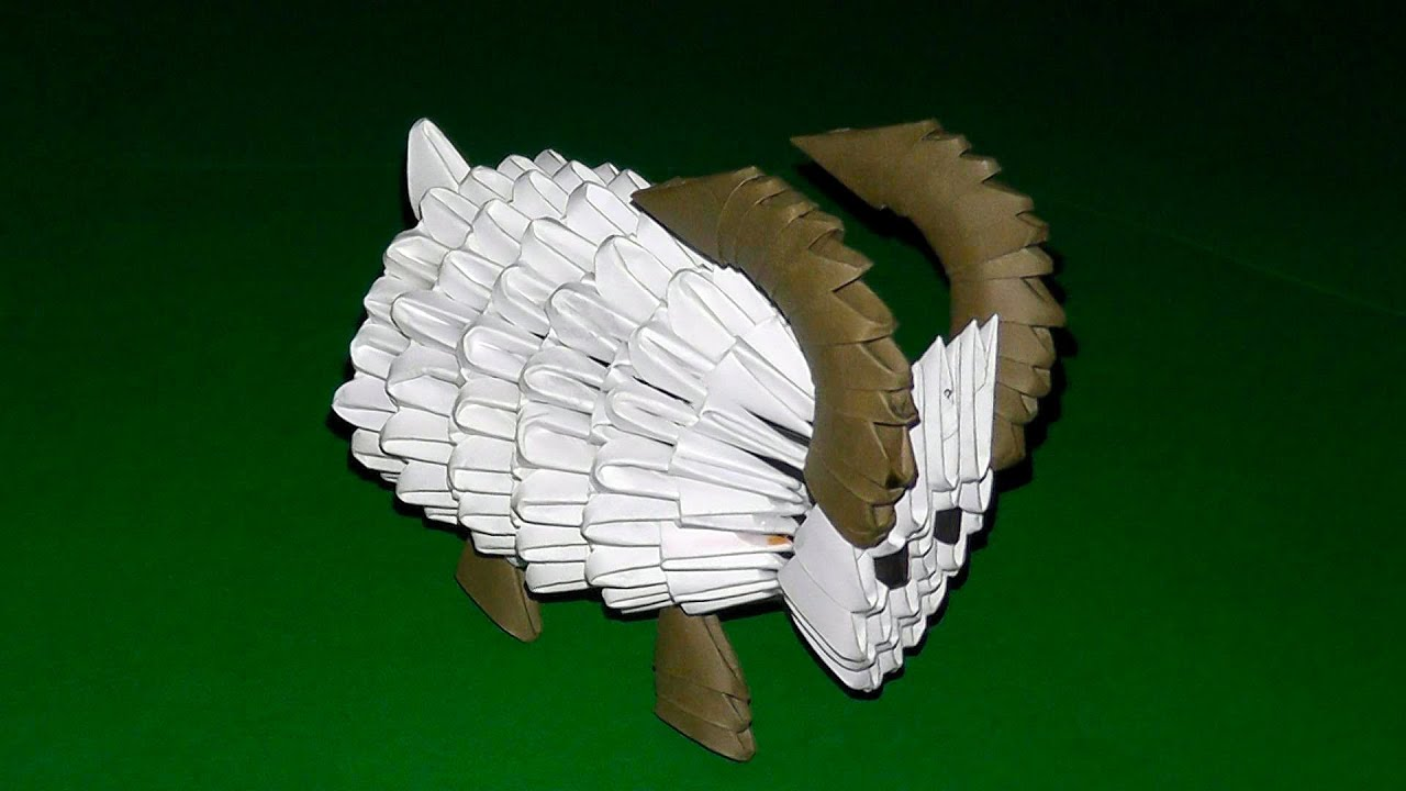 Sheep modular origami with detailed steps to create with photos and comments of the master