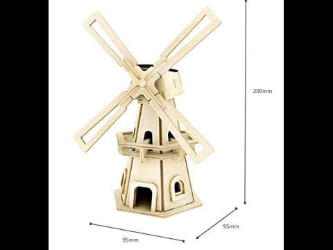 BestFire® DIY 3D Wooden Assembly Puzzle Solar Revolving Windmill for Kids