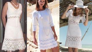 Платья белые, вязание. Летние платья.