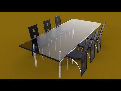 How to model a full dining table set in Maya 2016 ( full tutorial )