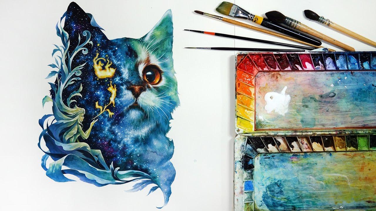 Watercolor painting watercolor tutorial cat watercolor for Video tutorial on watercolor painting