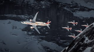 Amazing air show with CS300 and Patrouille Suisse above Wengen | SWISS