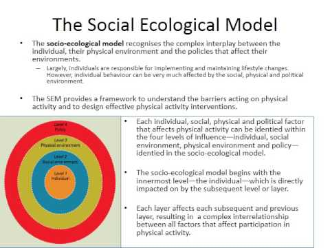 Changing Physical Activity Behaviour   Social Ecological Model