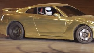 Stig Gold Nissan GTR Doughnuts - Top Gear Live UK