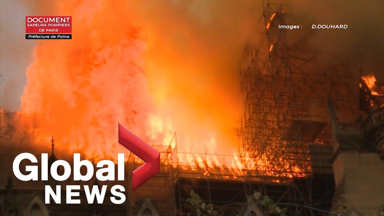 Notre Dame fire: Paris fire brigade footage shows extent of cathedral blaze