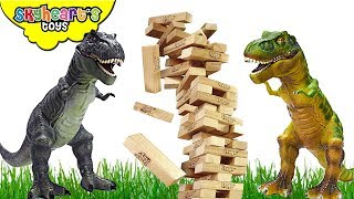 DINOSAUR FIGHT in GIANT JENGA! Skyheart Toys Trex Battle in jungle jurassic raptor