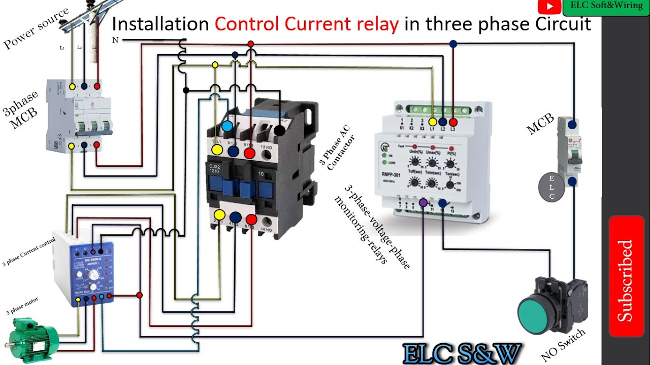 Wiring Diagram Single Phase Motor Contactor Off On Switches Control Connection Youtube