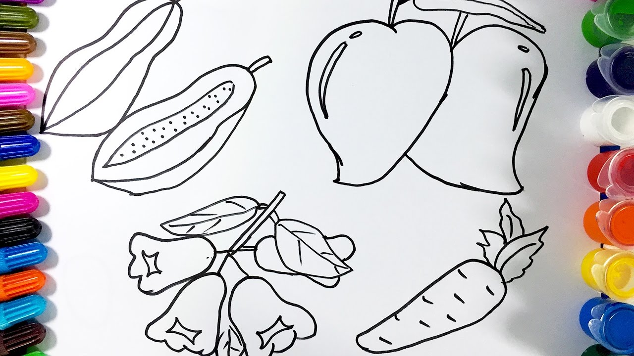 draw fresh fruit papaya peaches how to color fruits youtube