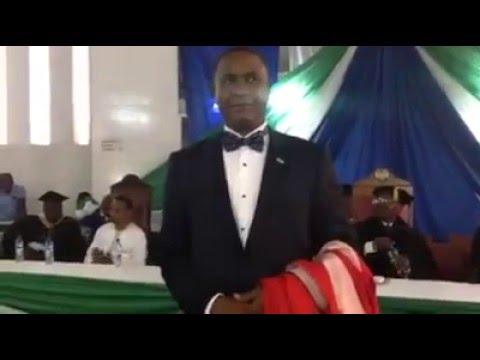 Mr Agibu Jalloh reading Dr. Alpha Kanu biography