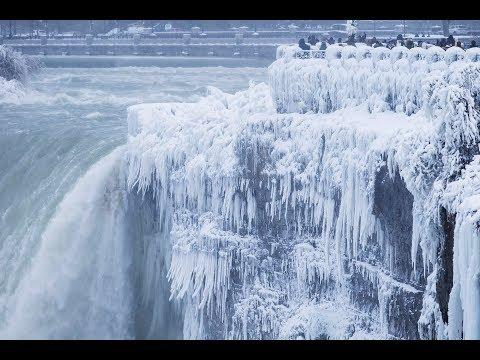 Niagara Falls is covered in ice