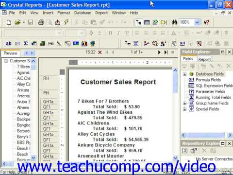 Crystal Reports Tutorial Viewing the SQL Code Business Objects ...