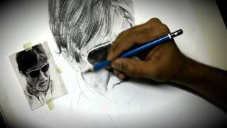 Pencil Drawing Amitabh Bachan By Artist Alamgir