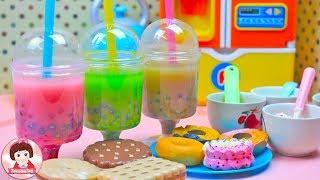 ละครสั้น เจ้าหญิงราพันเซลทำชาไข่มุก และเพื่อนๆ สโนไวท์ ของเล่นเครื่องครัวBaby Doll Cooking Food Toy