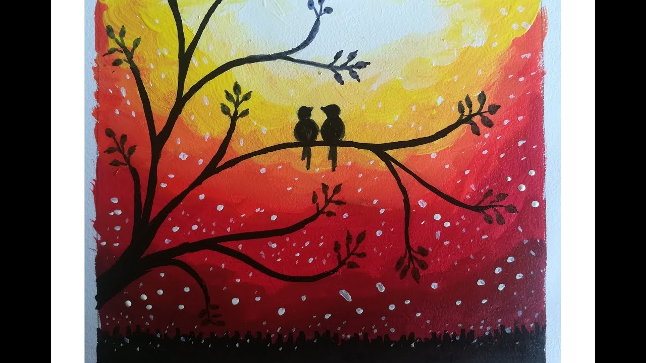 Love Birds Sunset Trees Postercolor Painting Easy Poster Painting