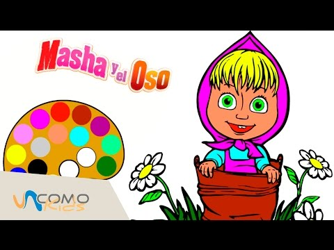 Dibujo de Masha y el oso en español - PINTAMOS A MASHA