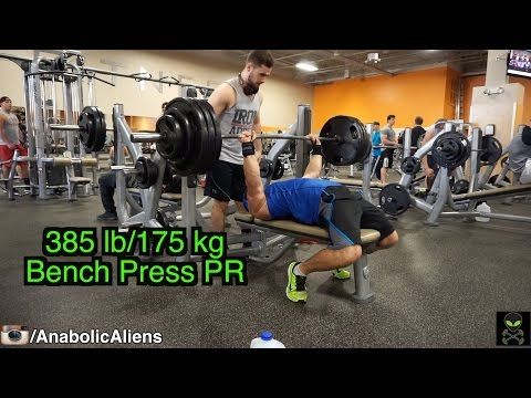 385 lb (175 kg) Bench Press PR - Mike Rosa, 188 lbs, 20 years old