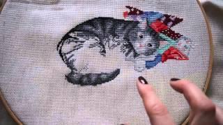 """Вышивка крестиком. Кот на одеяле (Т.Кузнецова). СП """"Мои любимые коты"""""""